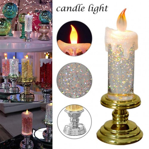Candles Light Lamp LED Creative Votive Flameless With Glitter Color Changing Water Candle
