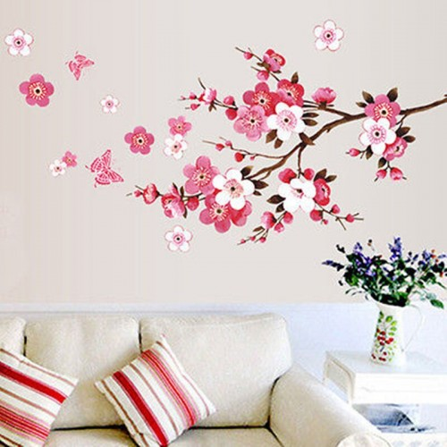 Removable Blossom Flower Butterfly Vinyl Art Decal Wall Home Sticker Room Decor Plum Wall Stickers