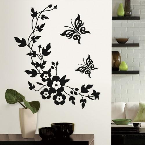 3d Wall Sticker Mural Decal Art - Flowers and Vine butterfly Wall Sticker