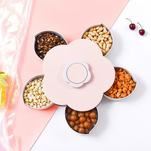 Rotatable Container Case Plastic Food Candy Holder Flower Shaped