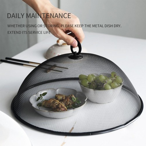 Round Iron Mesh Ventilation Metal Food Cover With Ring Hand