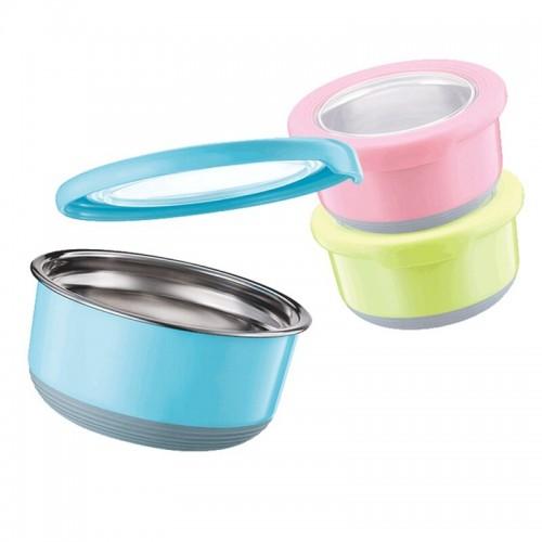 Round Stainless Steel Crisper Box Food Storage Container Kitchen Tool Food Leakproof Storage