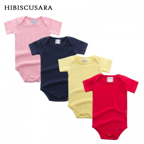180gsm Pack Of 5 Random Colors Unisex Baby Rompers Short Sleeve Cotton O-Neck Romper