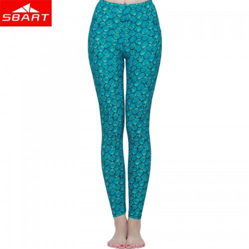 Women's Fish Scales Sports Leggings Casual Pants Printed Stretch High Waist Elastic Tights