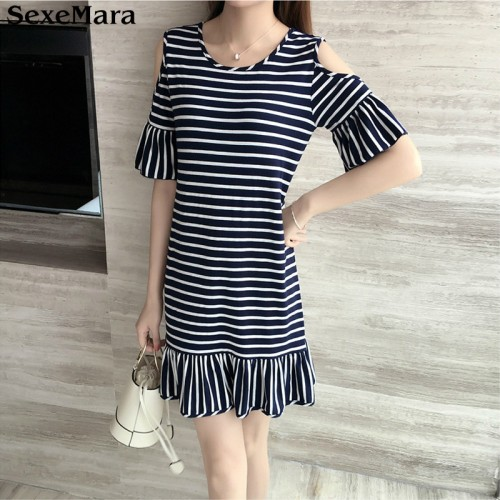 Summer Cold Shoulder Mini Black and White Stripped Dress