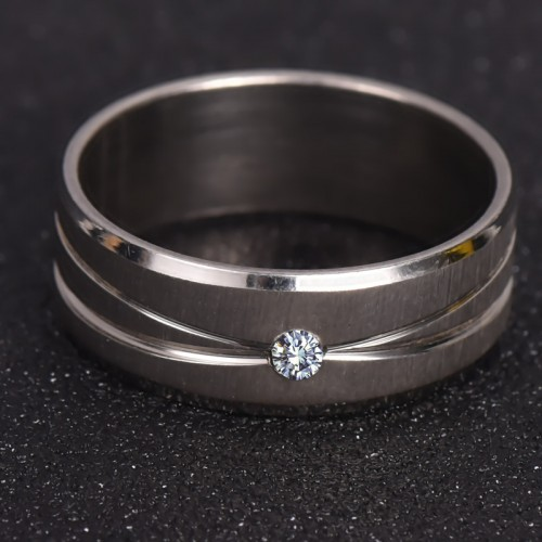 Silver Ring With Micro Paved Stainless Steel For Women