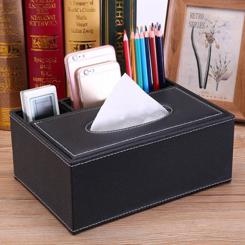 Leather Tissue Box, Pen Pencil Remote Control Holder Home Desk Organizer