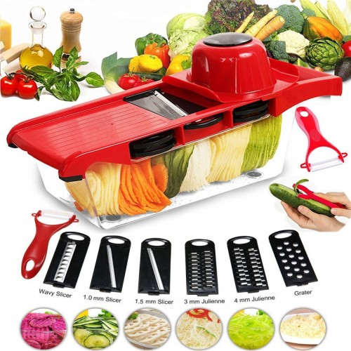 Slicer Vegetable Cutter Grater Chopper Six Interchangeable Blades With Hand Protector