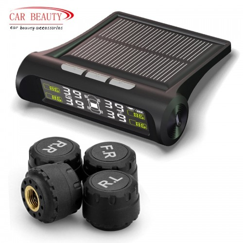 Smart Car Tire Pressure Monitoring System Solar Power Charging LCD Display Auto Security Alarm