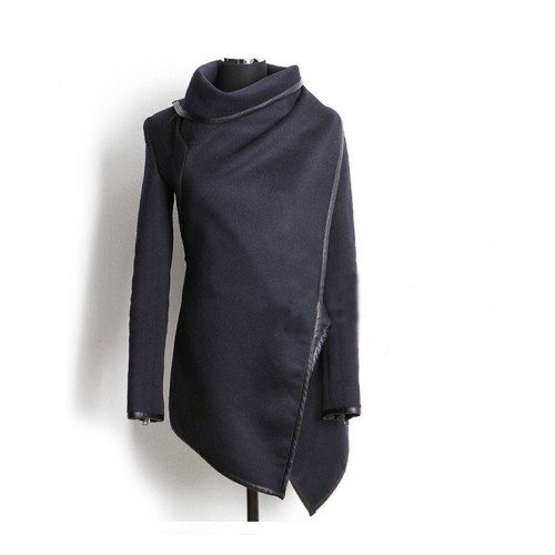 Irregular Asymmetry Long Trench Coat Overcoat