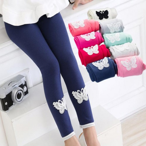 New Girls Kids Baby Girl Lace Butterfly Leggings