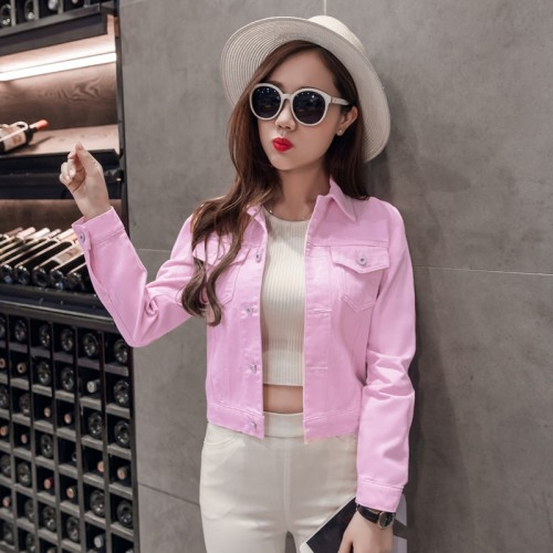Spring Autumn Women Clothing Cowboy Coat Jeans Top For Solid Denim Jacket