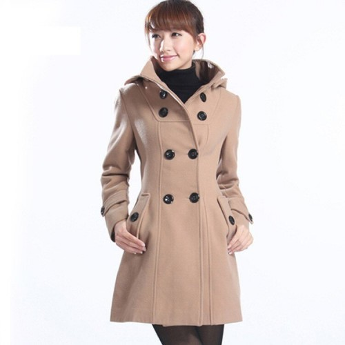 Women's Hooded Double Breasted Trench Wool Coat Long Winter Jackets Outerwear