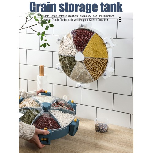Storage Box Cereals Dry Food Rice Organizer Rotate Storage Kitchen Containers