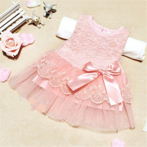 Summer Baby Girls Dresses Children Clothes Cotton Kids Bow Lace Ball Gown Casual Princess Dress