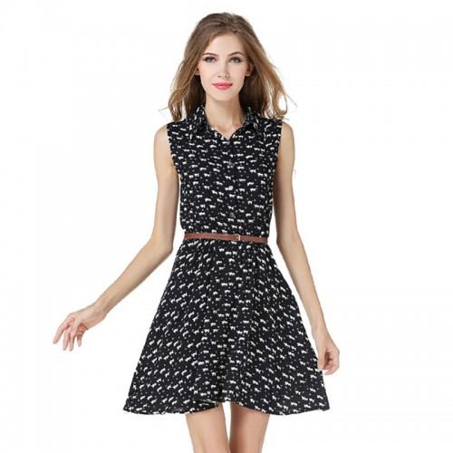 Women Sleeveless Printed Casual Dress Turn Down Collar Vintage Elegant Wear