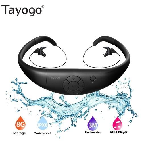 Tayogo 8G IPX8 Waterproof MP3 Swimming Diving Music Player Neckband Stereo Headset