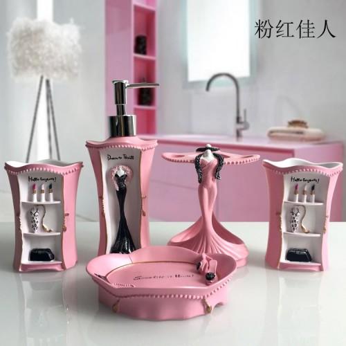The European Resin Set of Five Pieces Toiletries Kit Bathroom Accessories