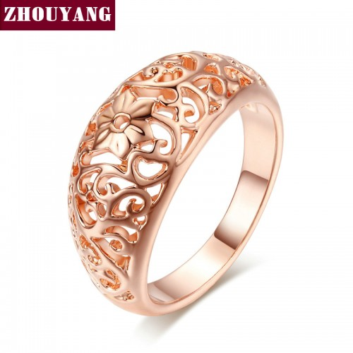 Top Quality Flower Hollowing craft Rose Gold Color Ring