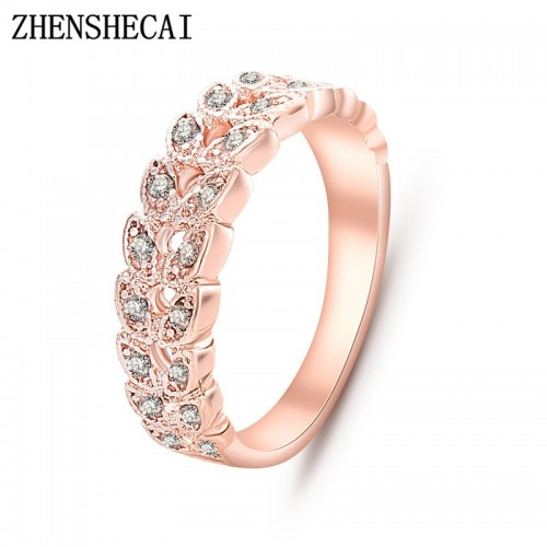 Top Quality Gold Concise Classical Crystal Wedding Ring Rose Gold Color Austrian Crystals