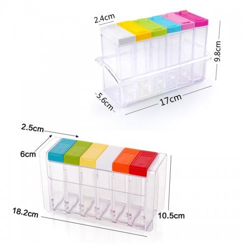 Transparent Spice Jar Set Salt and Pepper Seasoning Bottle Colorful Lid Kitchen Condiment Cruet Storage Container