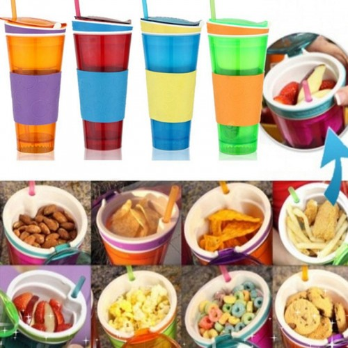 Travel Snack Water Bottle Drink In One Container Lid Straw Kids Snack Bottle Separated With A Straw