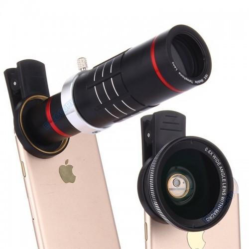 Universal HD 18x Optical Zoom Telescope Camera Lens Kit  0.6X Wide Angle 15X Macro lens For Smart Phones