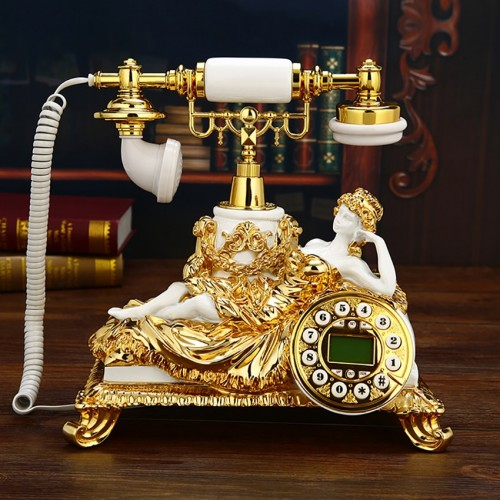 Vintage Golden Sleeping Lady Landline Phone Corded Retro Telephone With Button Dial Caller ID