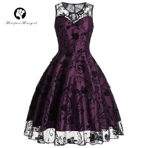 Vintage Women  Sleeveless vestido Midi Print Robe femme Lace Dress