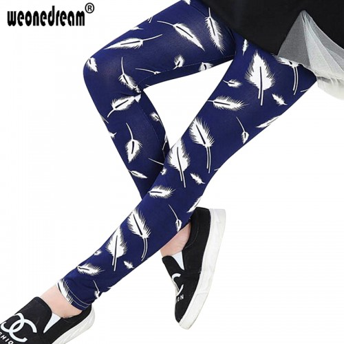 Girls Elastic Waist Pants Floral Printed Legging Trousers