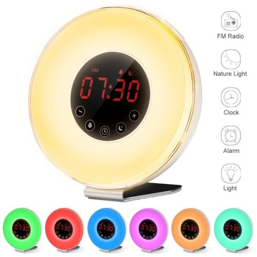 Wake Up Light Alarm Clock FM Radio Nature Sounds Smart Snooze Functions With USB Charger