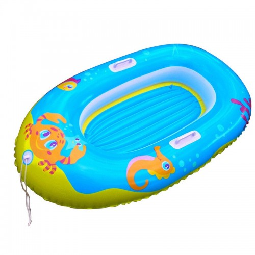 Water Sports Cartoon Boat Shaped Swimming Ring Inflatable Floating Bed