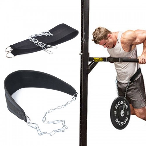 Weight Lifting Belt With Chain Fitness Equipment Drop Dip Pull Up Belt