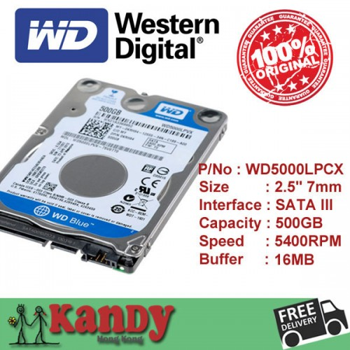 Western Digital 500GB hard disk laptop