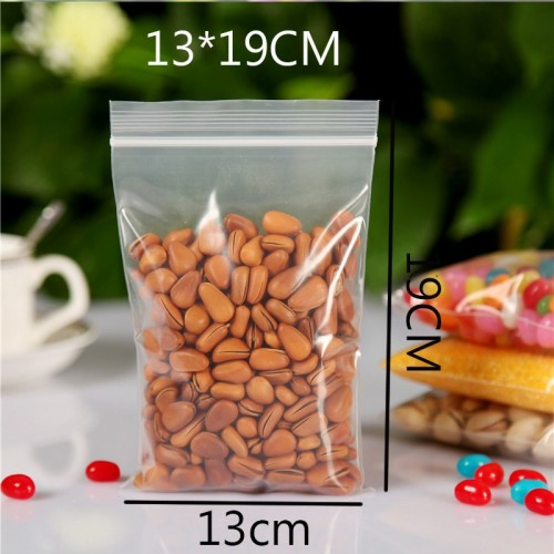 50 Pieces Transparent 19cm X 13cm Zip Lock Plastic Bags (Useable Space: 17cm X 13cm)