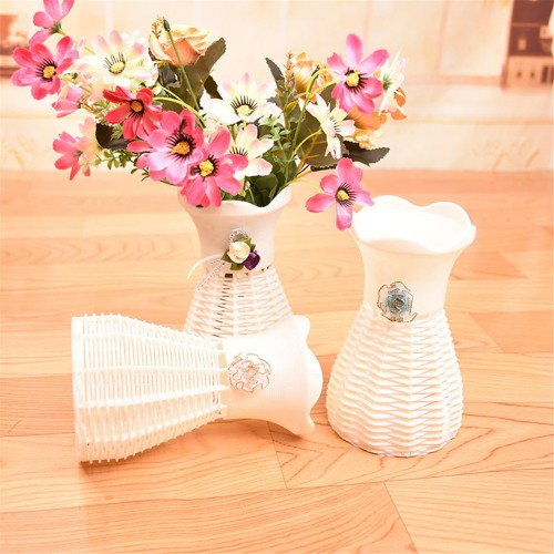Wicker Flower Basket Rattan Orchid Artificial Flower Vase Storage Baskets Plant Holder Organizer Display Stands Home Decor