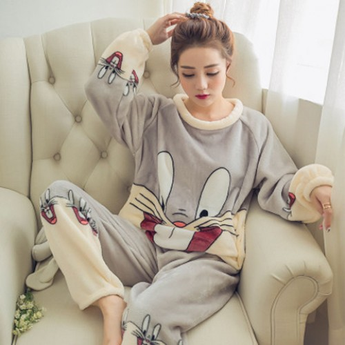Women Winter Cartoon Printed Warm Love Flannel Pajama Sets