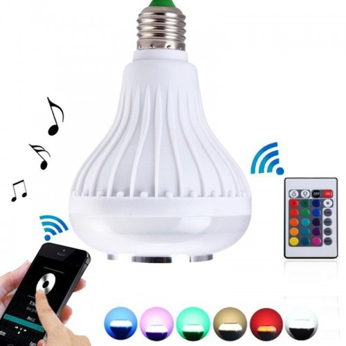 Wireless Bluetooth Speaker 12W RGB Bulb Lamp Smart Led Music Player Audio With Remote Control