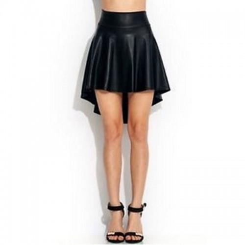 Slim High Waist Faux Leather Asymmetrical Mini Skirt