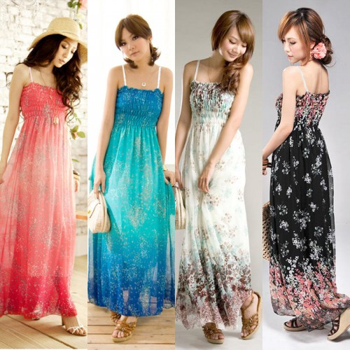 Women Exotic Long Chiffon Floral Summer Elegant Loose Dress