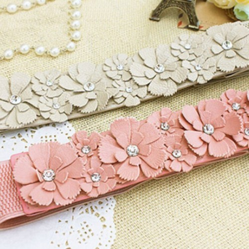 PU Leather Flower Elastic Stretch Waist Belt