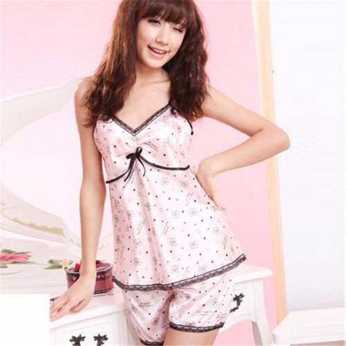 Women Rayon Silk Lace V-neck Shirts Shorts Set Sleepwear Nightwear