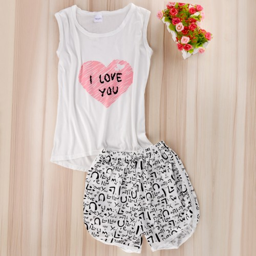 Women Lingerie cute Sleepwear Sleeveless  Shirt + Shorts Nightwear Set