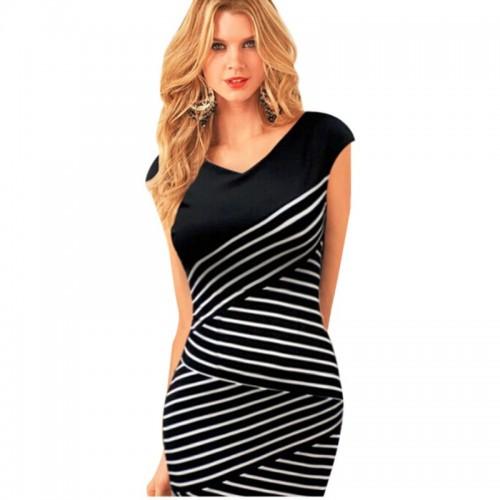 Summer Stripe Casual Pencil Dress
