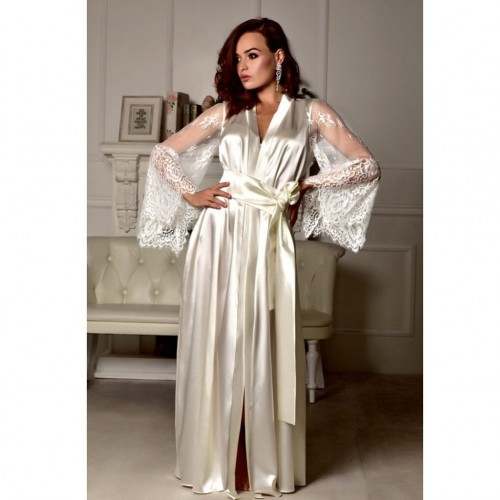 Womens Silk Satin Deep V Robe Lingerie Sleepwear Nightwear Long Gown with Net Sleeves