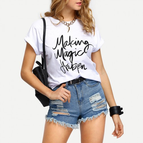 ZSIIBO Make Magic Happen Print Fashion T-shirt O-Neck Short Sleeve