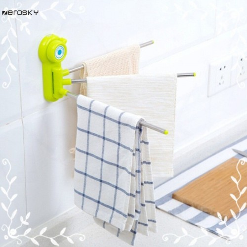 Bathroom Towel Shelf Rack Wall Removable Storage Rack Towel Shelf Rotate