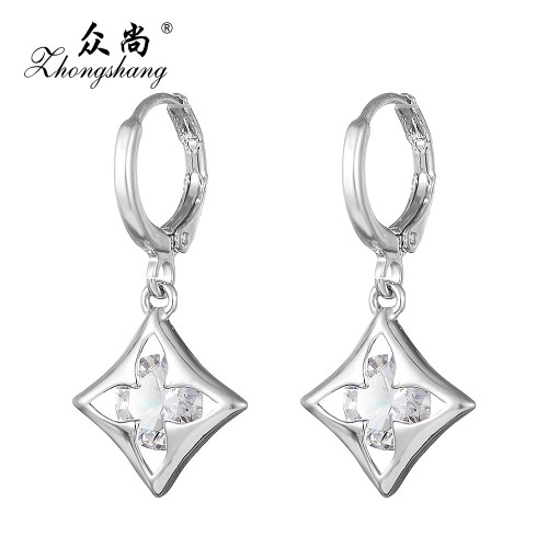 Zircon Crystal Earring Silver Plated Drop Long Earrings Flowers Rhombus Pattern Jewelry