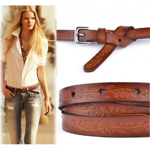 hot new Vintage womens belt New Style Carve Flower Slender Belt