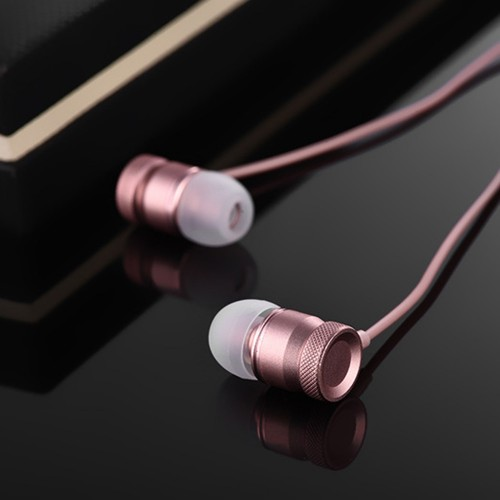 Pink Metal Fashion Wired Stereo In-Ear With Mic Earphones For PC Smart Phones